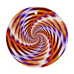 Woven Colorful Waves Round Ornament (two Sides) by designworld65