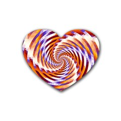 Woven Colorful Waves Rubber Coaster (heart)  by designworld65