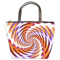 Woven Colorful Waves Bucket Bags by designworld65
