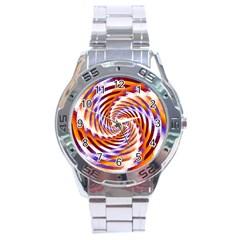 Woven Colorful Waves Stainless Steel Analogue Watch by designworld65