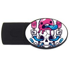 Ice Cream Skull Usb Flash Drive Oval (2 Gb) by quirogaart