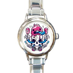 Ice Cream Skull Round Italian Charm Watch by quirogaart