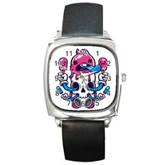 Ice Cream Skull Square Metal Watch by quirogaart