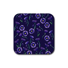 Floral Rubber Square Coaster (4 Pack)