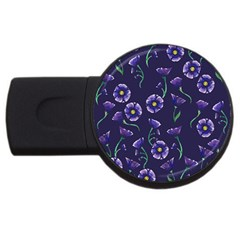 Floral Usb Flash Drive Round (4 Gb)