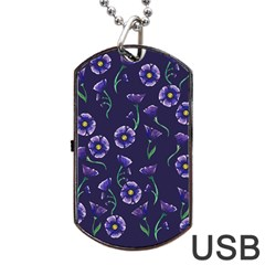Floral Dog Tag Usb Flash (one Side)