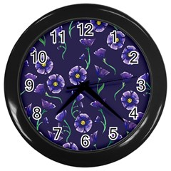 Floral Violet Purple Wall Clocks (black) by BubbSnugg
