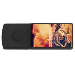 Fantasy Art Painting Magic Woman  Rectangular Usb Flash Drive by paulaoliveiradesign