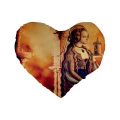Fantasy Art Painting Magic Woman  Standard 16  Premium Flano Heart Shape Cushions by paulaoliveiradesign