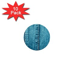 Denim Jeans Fabric Texture 1  Mini Buttons (10 Pack)  by paulaoliveiradesign