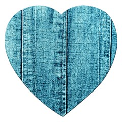 Denim Jeans Fabric Texture Jigsaw Puzzle (heart) by paulaoliveiradesign
