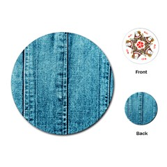 Denim Jeans Fabric Texture Playing Cards (round)  by paulaoliveiradesign