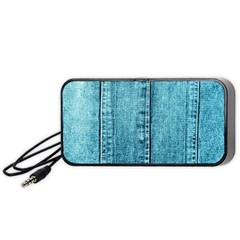 Denim Jeans Fabric Texture Portable Speaker (black) by paulaoliveiradesign