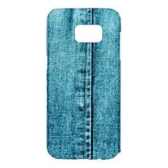 Denim Jeans Fabric Texture Samsung Galaxy S7 Edge Hardshell Case by paulaoliveiradesign