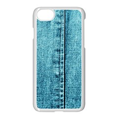 Denim Jeans Fabric Texture Apple Iphone 7 Seamless Case (white) by paulaoliveiradesign