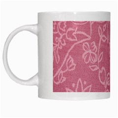 Floral Rose Flower Embroidery Pattern White Mugs by paulaoliveiradesign