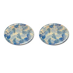 Fabric Embroidery Blue Texture Cufflinks (oval) by paulaoliveiradesign