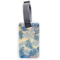 Fabric Embroidery Blue Texture Luggage Tags (two Sides) by paulaoliveiradesign