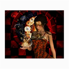Steampunk, Beautiful Steampunk Lady With Clocks And Gears Small Glasses Cloth (2 Side) by FantasyWorld7