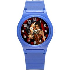 Steampunk, Beautiful Steampunk Lady With Clocks And Gears Round Plastic Sport Watch (s) by FantasyWorld7