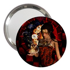 Steampunk, Beautiful Steampunk Lady With Clocks And Gears 3  Handbag Mirrors by FantasyWorld7