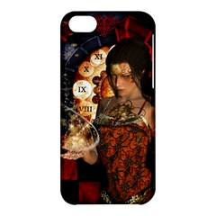 Steampunk, Beautiful Steampunk Lady With Clocks And Gears Apple Iphone 5c Hardshell Case by FantasyWorld7