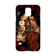 Steampunk, Beautiful Steampunk Lady With Clocks And Gears Samsung Galaxy S5 Hardshell Case  by FantasyWorld7