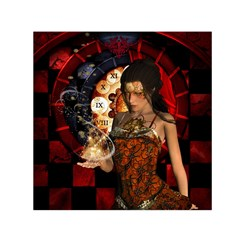 Steampunk, Beautiful Steampunk Lady With Clocks And Gears Small Satin Scarf (square) by FantasyWorld7
