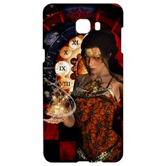 Steampunk, Beautiful Steampunk Lady With Clocks And Gears Samsung C9 Pro Hardshell Case  by FantasyWorld7