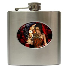 Steampunk, Beautiful Steampunk Lady With Clocks And Gears Hip Flask (6 Oz) by FantasyWorld7