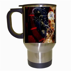 Steampunk, Beautiful Steampunk Lady With Clocks And Gears Travel Mugs (white) by FantasyWorld7