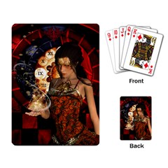 Steampunk, Beautiful Steampunk Lady With Clocks And Gears Playing Card by FantasyWorld7