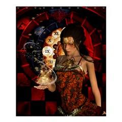 Steampunk, Beautiful Steampunk Lady With Clocks And Gears Shower Curtain 60  X 72  (medium)  by FantasyWorld7