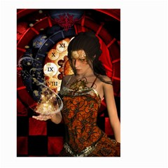 Steampunk, Beautiful Steampunk Lady With Clocks And Gears Large Garden Flag (two Sides) by FantasyWorld7