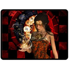 Steampunk, Beautiful Steampunk Lady With Clocks And Gears Double Sided Fleece Blanket (large)  by FantasyWorld7