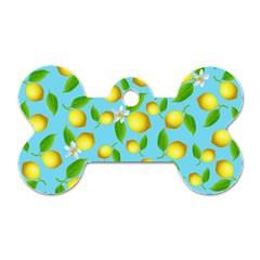 Lemon Pattern Dog Tag Bone (two Sides) by Valentinaart