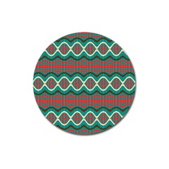 Ethnic Geometric Pattern Magnet 3  (round) by linceazul