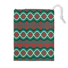 Ethnic Geometric Pattern Drawstring Pouches (extra Large) by linceazul