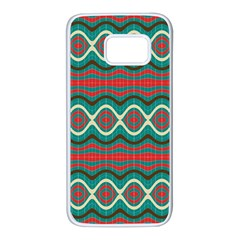 Ethnic Geometric Pattern Samsung Galaxy S7 White Seamless Case by linceazul