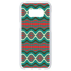 Ethnic Geometric Pattern Samsung Galaxy S8 White Seamless Case by linceazul
