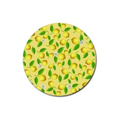 Lemon Pattern Rubber Round Coaster (4 Pack)  by Valentinaart