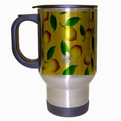 Lemon Pattern Travel Mug (silver Gray) by Valentinaart