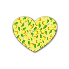 Lemon Pattern Rubber Coaster (heart)  by Valentinaart
