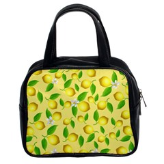 Lemon Pattern Classic Handbags (2 Sides) by Valentinaart