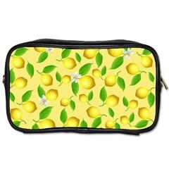 Lemon Pattern Toiletries Bags 2 Side by Valentinaart