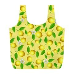 Lemon Pattern Full Print Recycle Bags (l)  by Valentinaart
