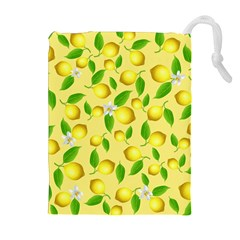 Lemon Pattern Drawstring Pouches (extra Large) by Valentinaart