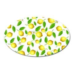 Lemon Pattern Oval Magnet by Valentinaart