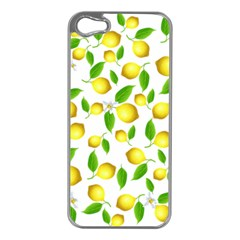 Lemon Pattern Apple Iphone 5 Case (silver) by Valentinaart