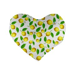 Lemon Pattern Standard 16  Premium Flano Heart Shape Cushions by Valentinaart